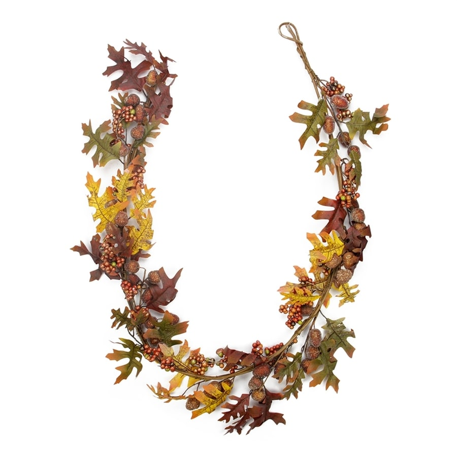 Northlight 5-ft Glittered Acorn and Hawthorne Leaf Thanksgiving Garland