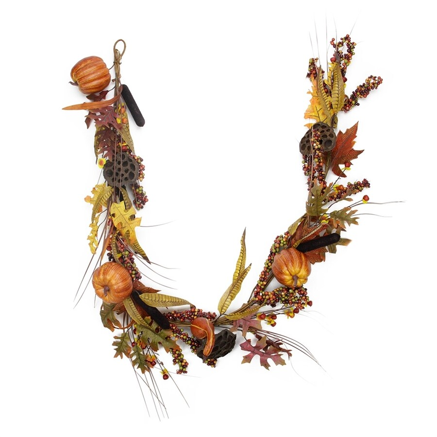 Northlight 5-ft Cattail and Dried Lotus Root Autumn Fields Thanksgiving Garland