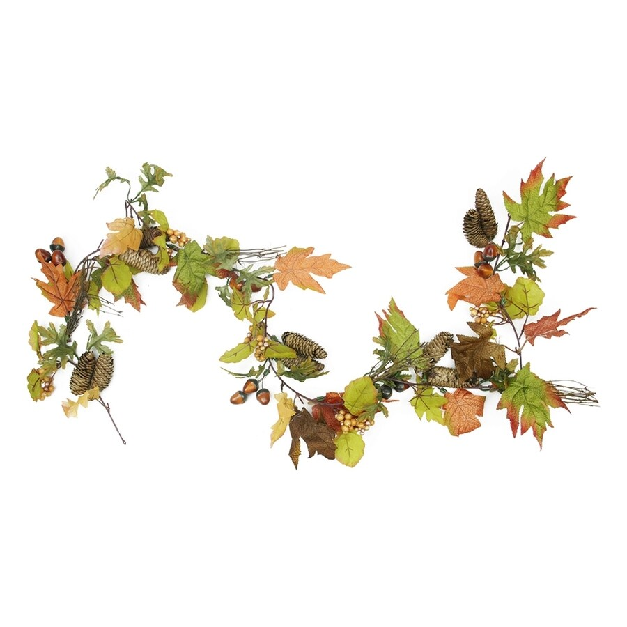 Northlight 6-ft Autumn Harvest Mixed Leaf, Berry Cluster and Acorn Thanksgiving Garland