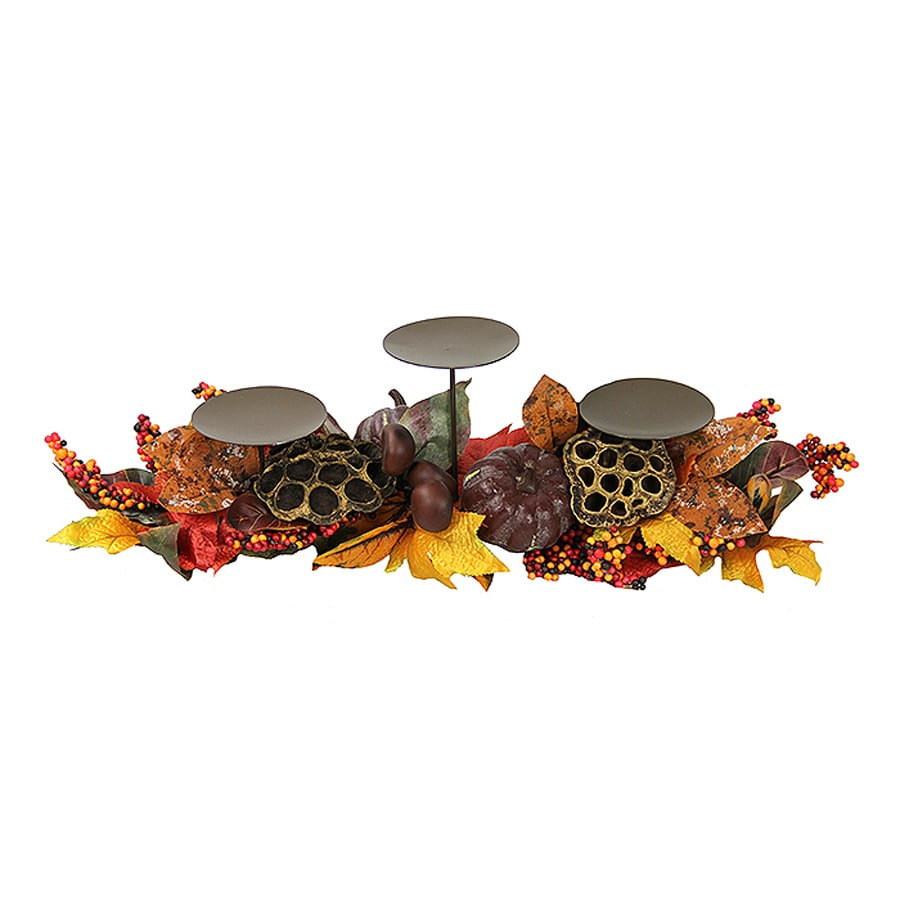 Northlight 3 Candle Lotus Harvest Metal Pillar Thanksgiving Candle Holder