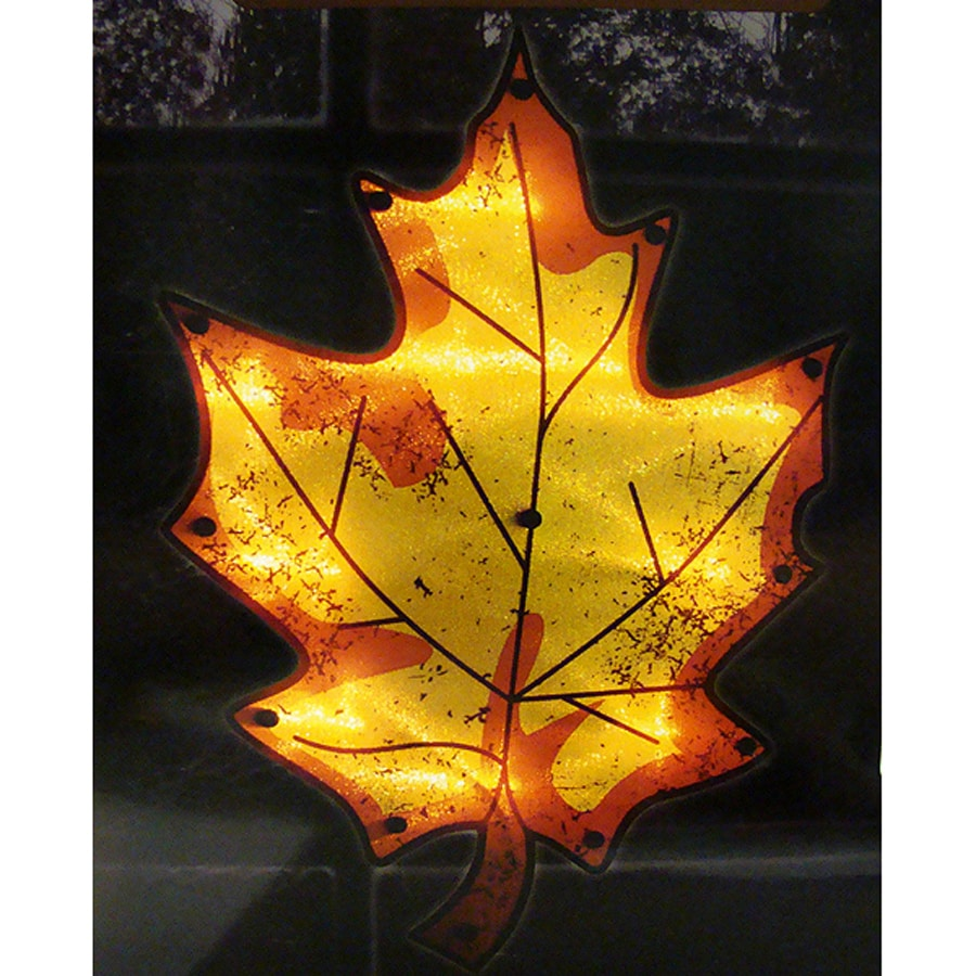 Northlight Leaf Window Cling with Twinkling Clear Incandescent Lights