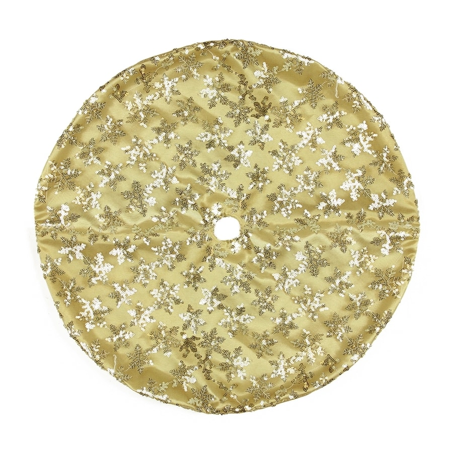 Northlight 20-in Gold Polyester Snowflake Christmas Tree Skirt