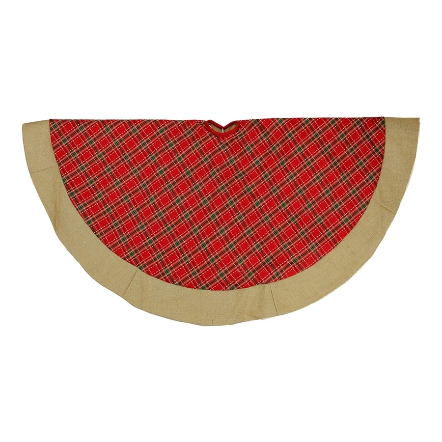 Northlight 48-in Red Polyester Plaid Christmas Tree Skirt