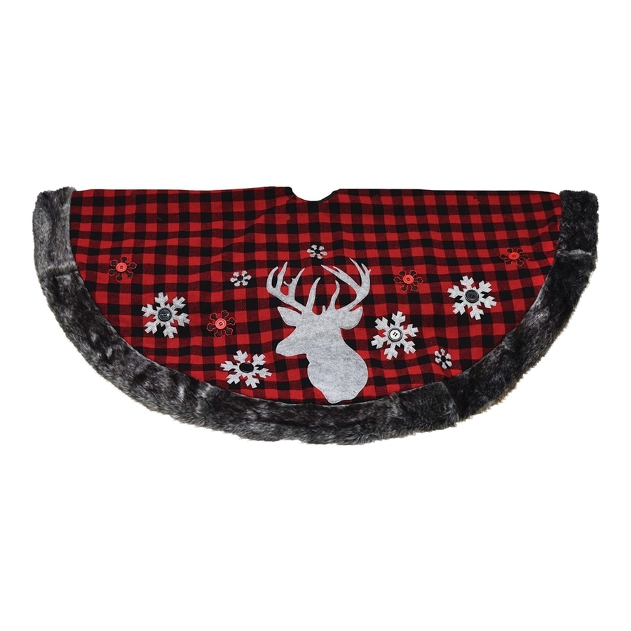 Northlight 48-in Red Polyester Reindeer Christmas Tree Skirt