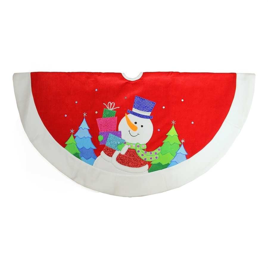 Northlight 48-in Red Polyester Snowman Christmas Tree Skirt