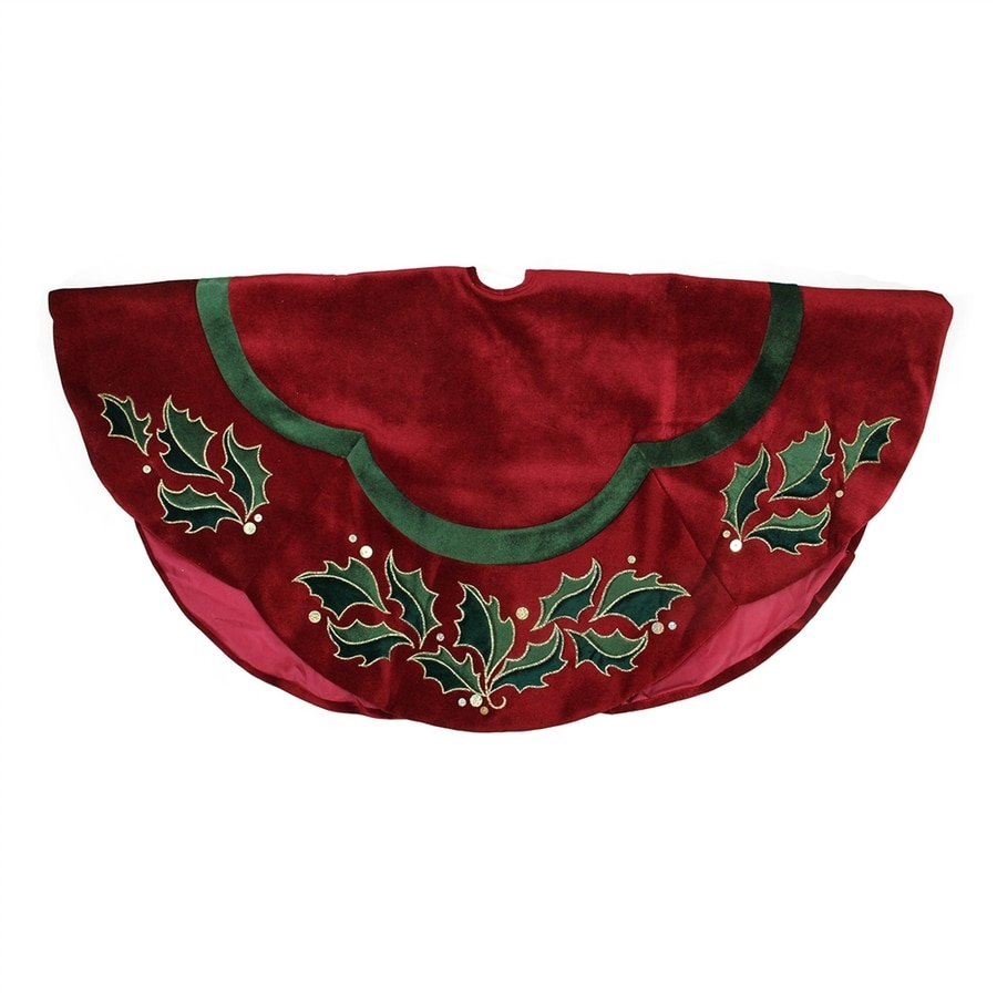 Northlight 48-in Red Polyester Holly Christmas Tree Skirt