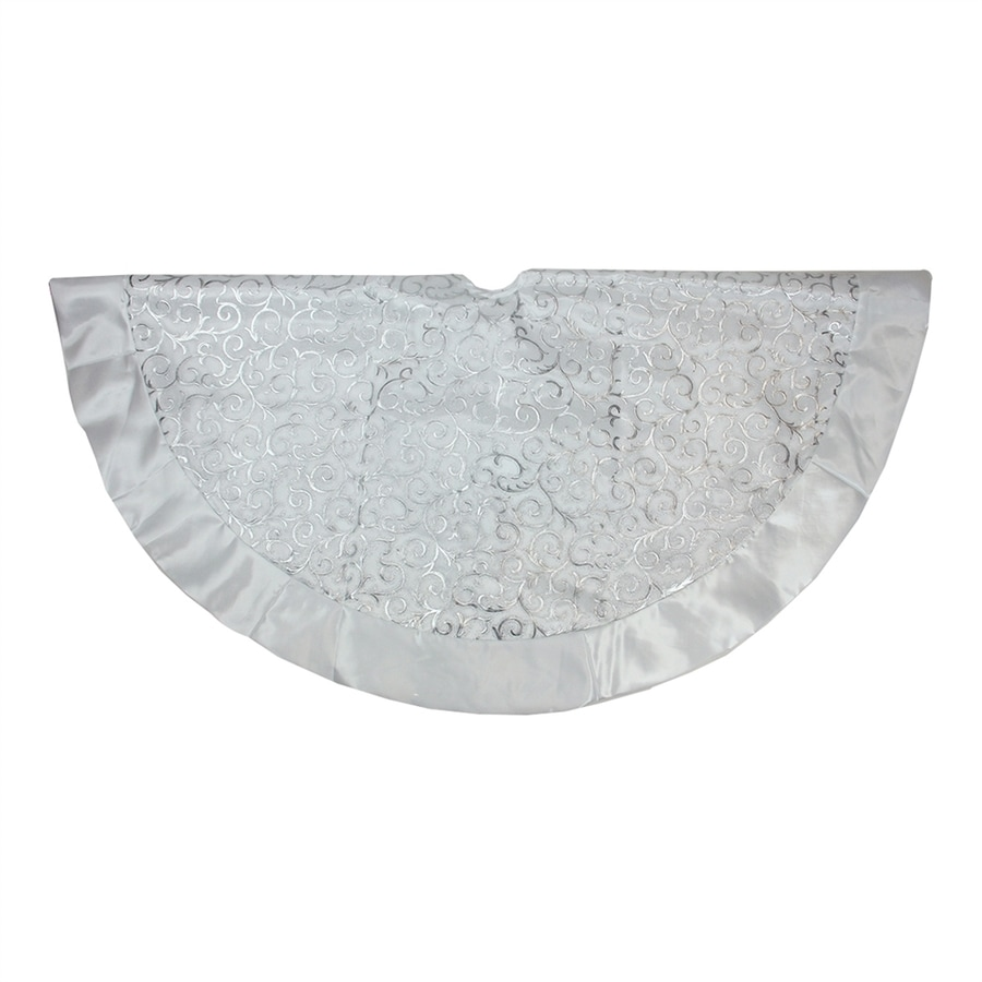 Northlight 48-in White Polyester Scroll Christmas Tree Skirt