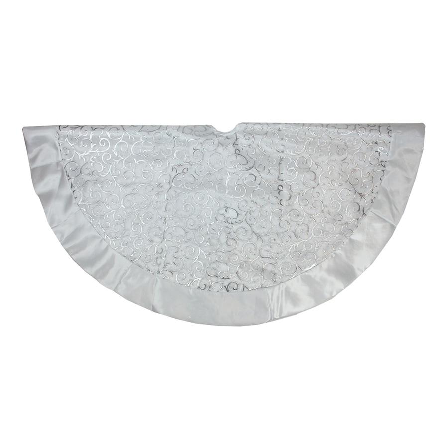 Northlight 48 In White Polyester Scroll Christmas Tree Skirt