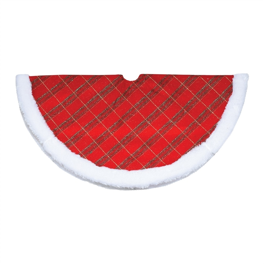 Northlight 20-in Red Polyester Plaid Christmas Tree Skirt
