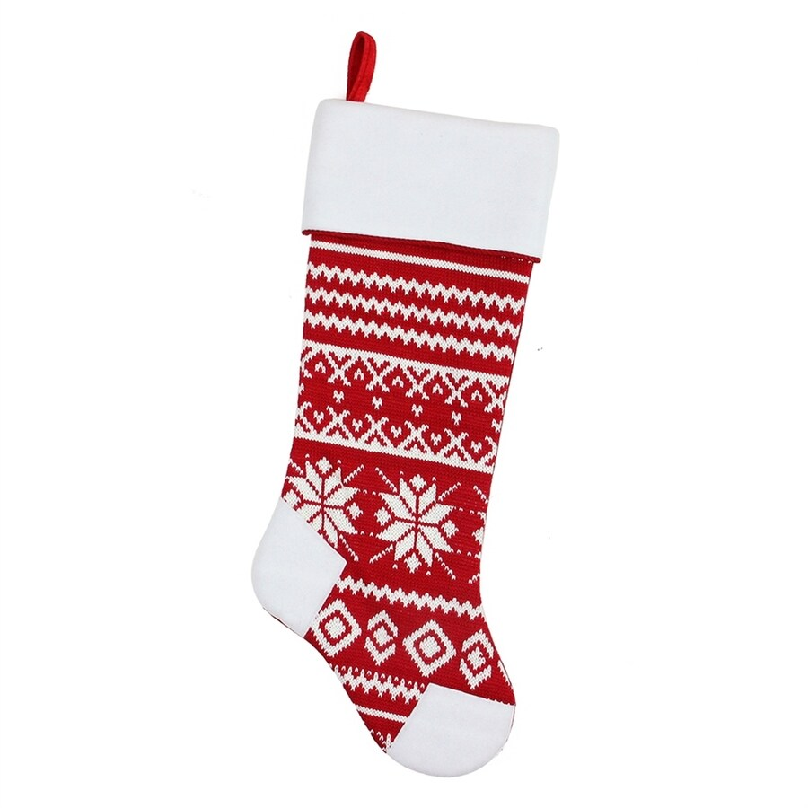 Shop Northlight 21.5-in Red Knit Christmas Stocking at Lowes.com