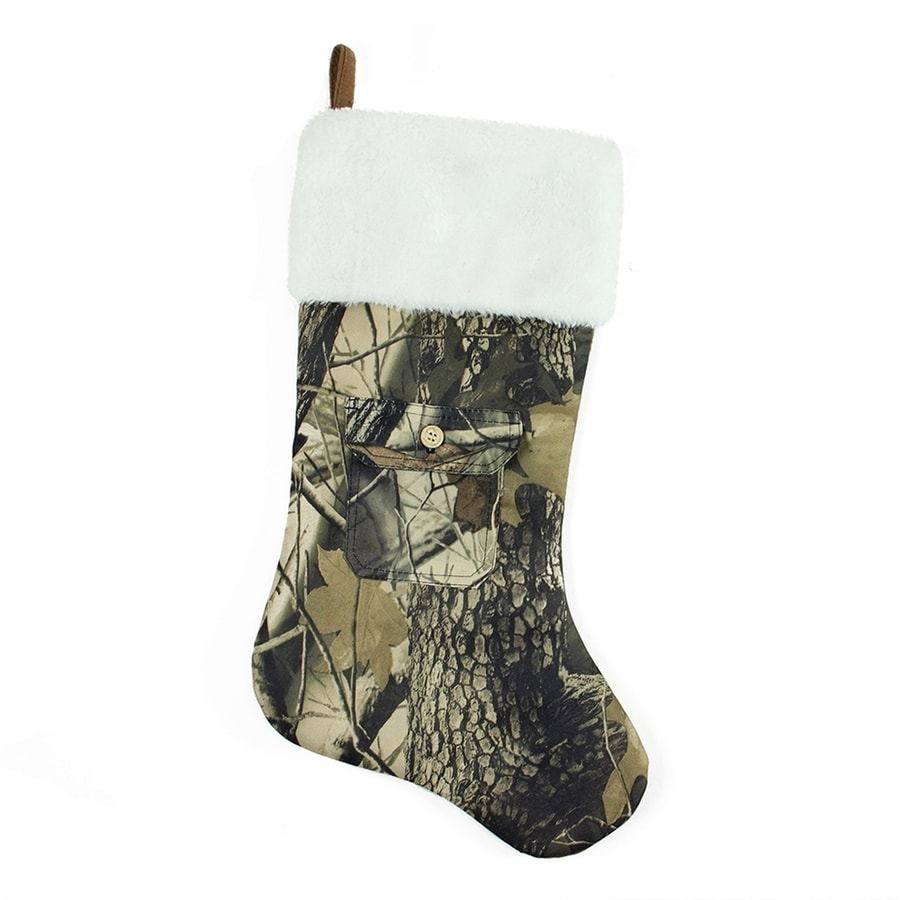 Shop Northlight 20.5-in Green Camo Christmas Stocking at Lowes.com