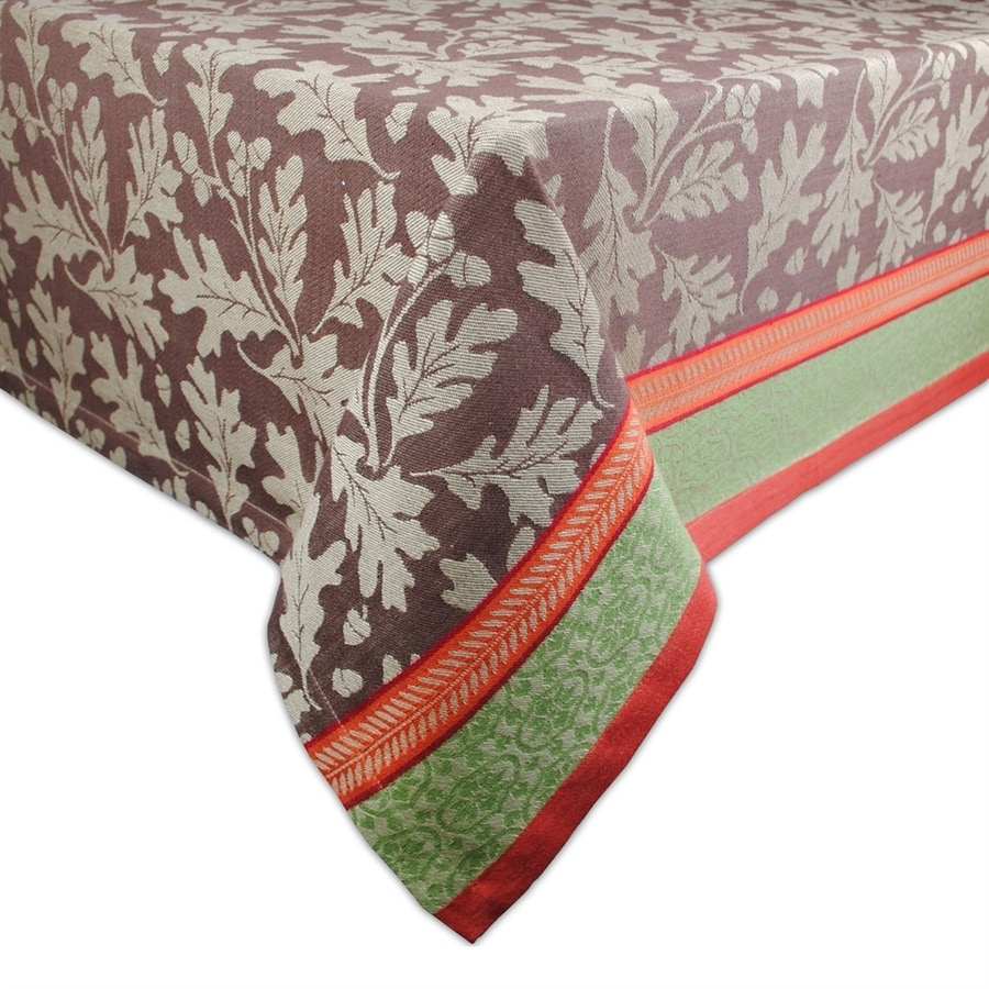 Design Imports Cotton Leaves Tablecloth