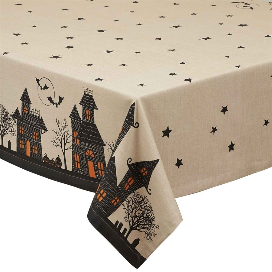 Design Imports Haunted House Print Tablecloth