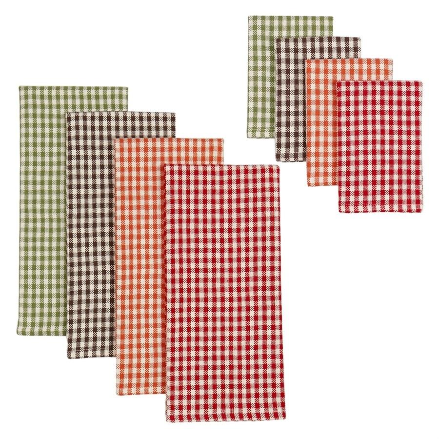 Design Imports 8-Piece Cotton Harvest Checks Patterned Dish Towel Set