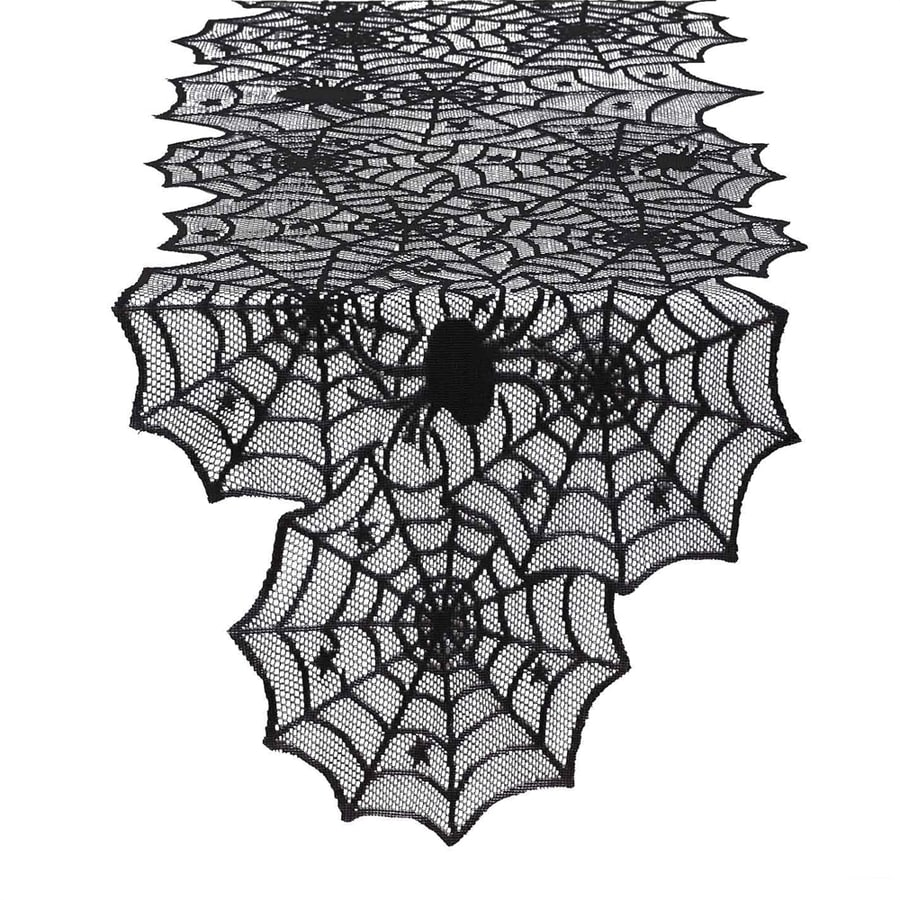 Design Imports Hocus Pocus Tabletop Spider Web Table Runner