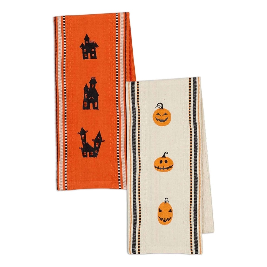 Design Imports Haunted Hollow 2-Piece Jack O' Lantern and Haunted House Embroidered Dish Towel Set