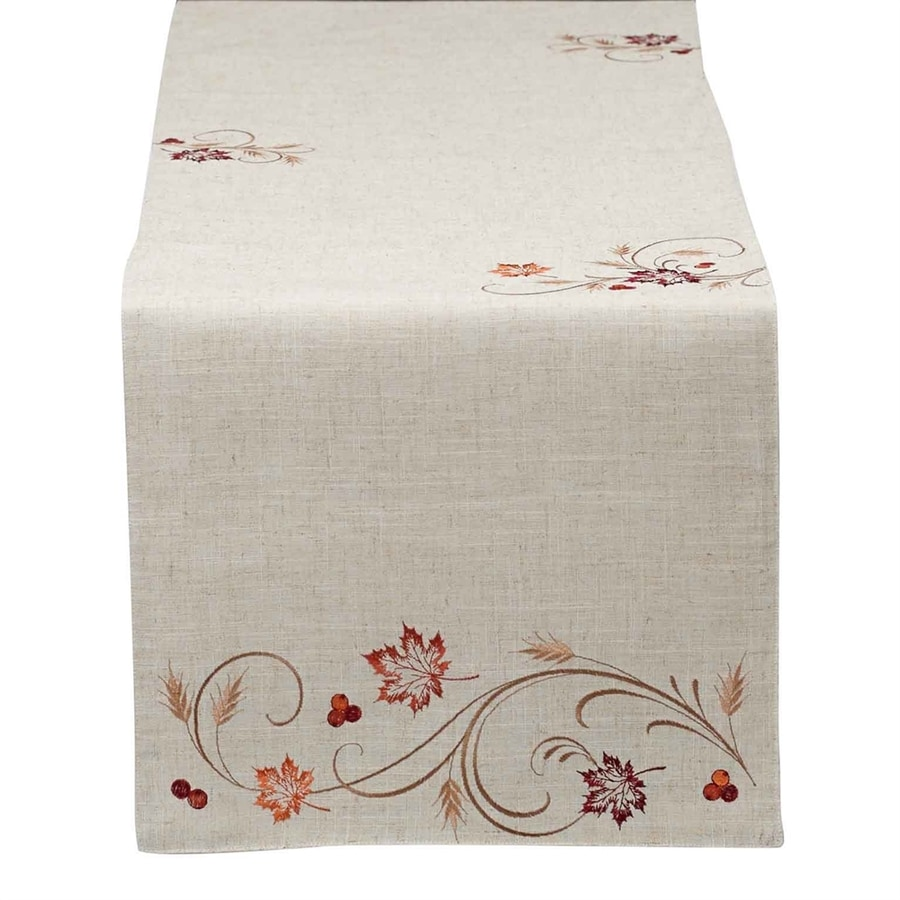 Design Imports Polyester Leaves Table Runner Indoor Thanksgiving Decoration