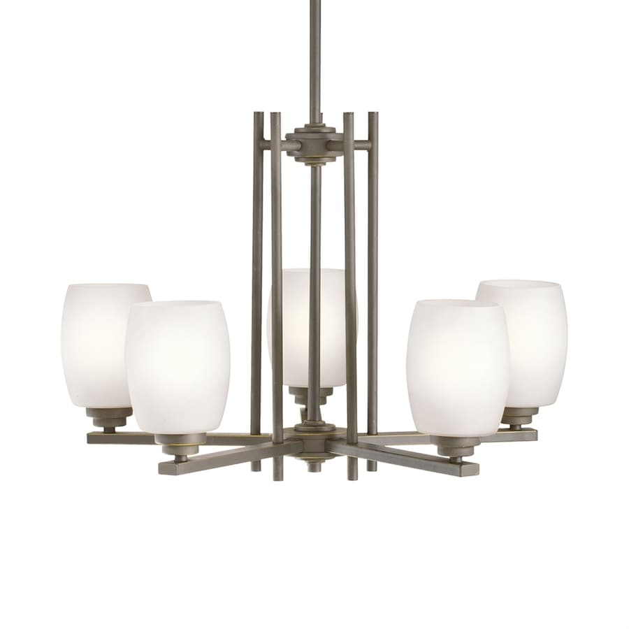 Kichler Eileen 24-in 5-Light Olde Bronze Etched Glass Shaded Chandelier