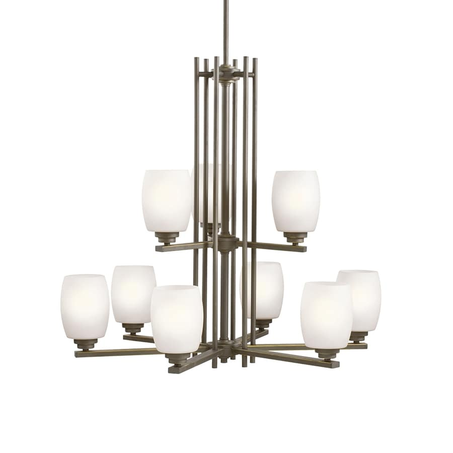 Kichler Eileen 30-in 9-Light Olde bronze Etched Glass Tiered Chandelier