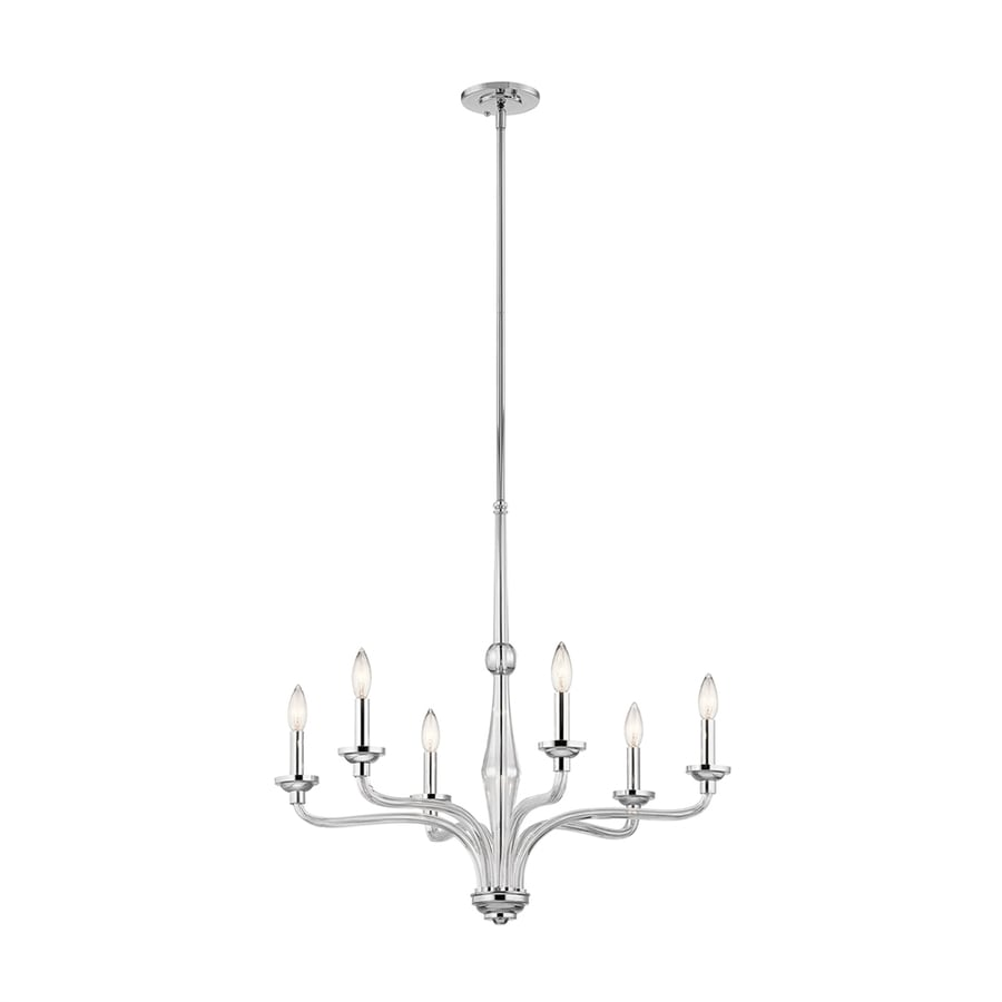 Kichler Loula 27-in 6-Light Chrome Candle Chandelier