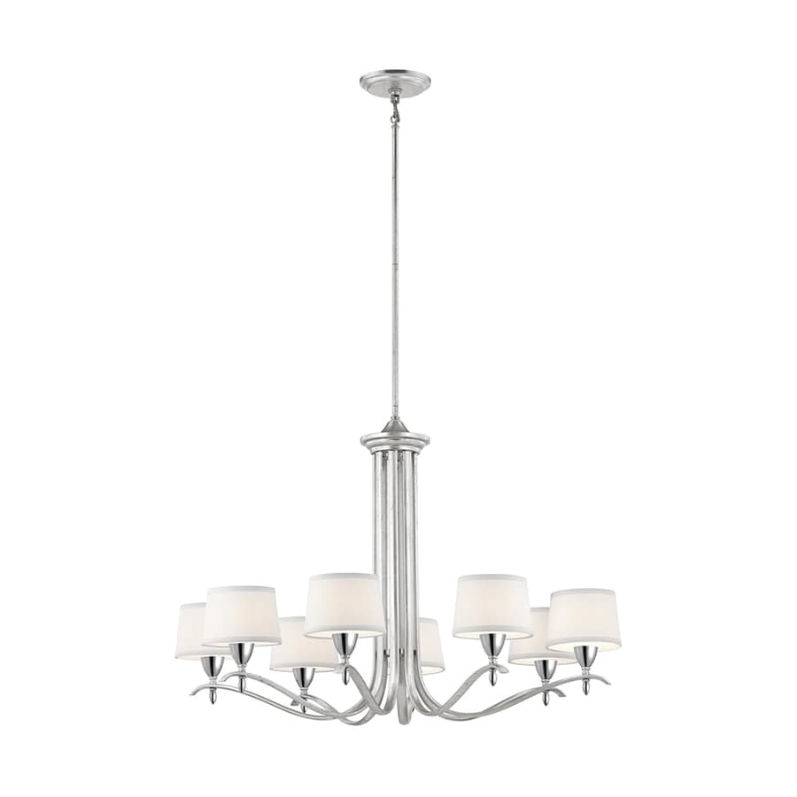 Kichler Lighting Cordova 36-in 8-Light Silver Leaf Country Cottage Shaded Chandelier
