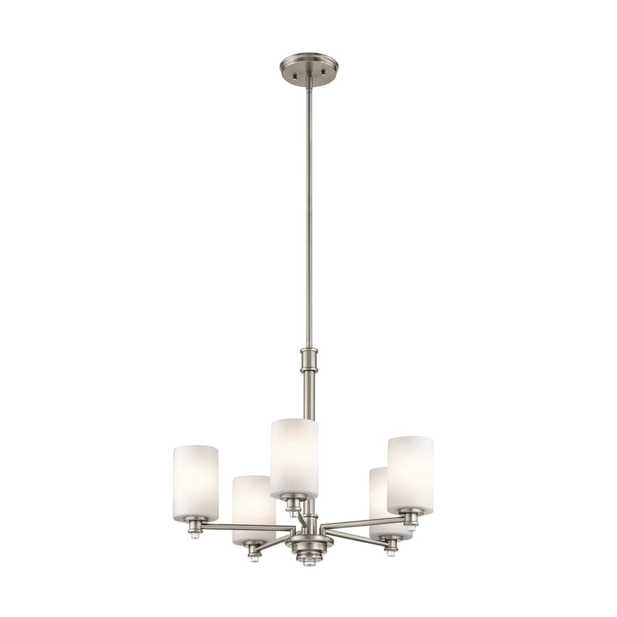 Kichler Lighting Joelson 24-in 5-Light Brushed Nickel Etched Glass Shaded Chandelier