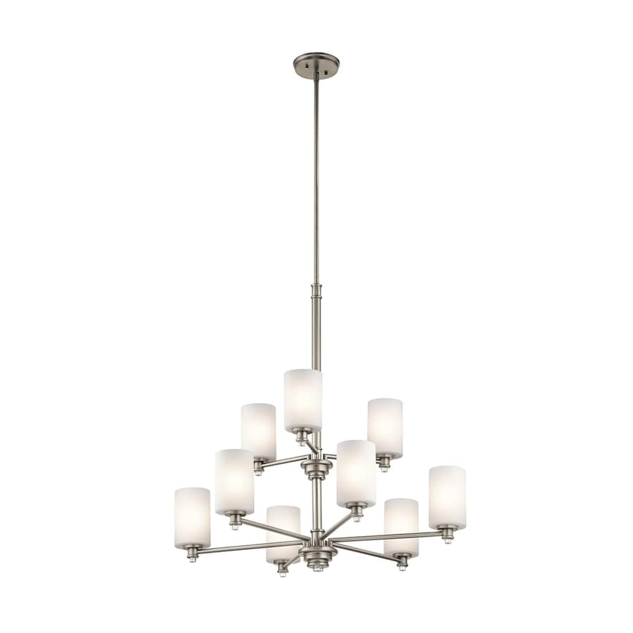 Kichler Lighting Joelson 32-in 9-Light Brushed Nickel Etched Glass Tiered Chandelier