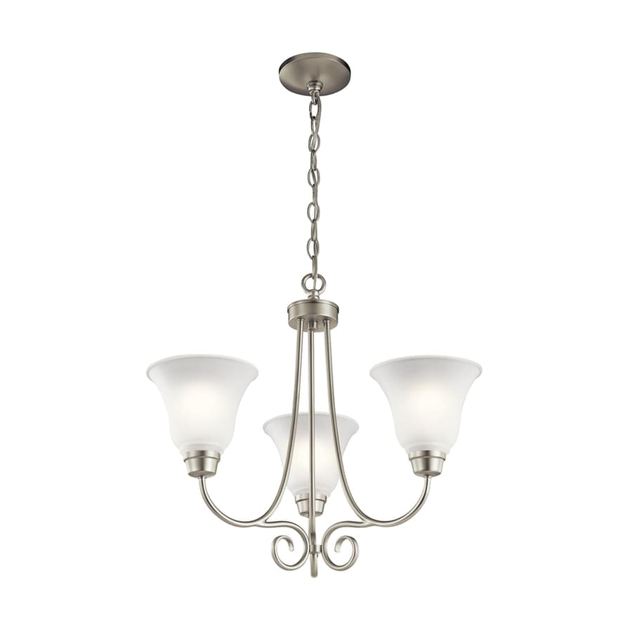 Kichler Bixler 21.5-in 3-Light Brushed nickel Country Cottage Etched Glass Shaded Chandelier