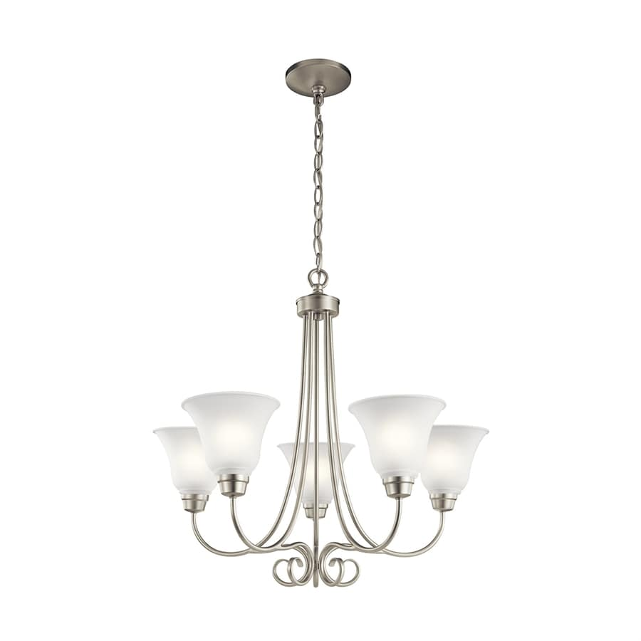 Kichler Bixler 25.5-in 5-Light Brushed Nickel Country Cottage Etched Glass Shaded Chandelier