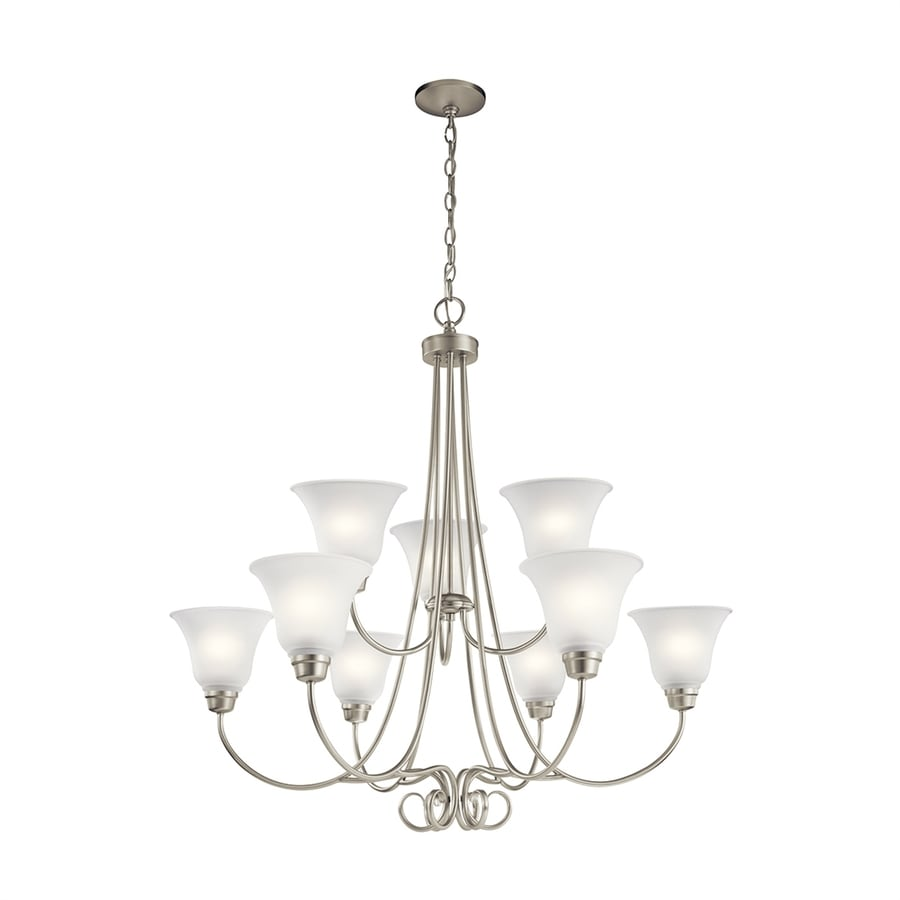 Kichler Lighting Bixler 35.25-in 9-Light Brushed Nickel Country Cottage Etched Glass Tiered Chandelier