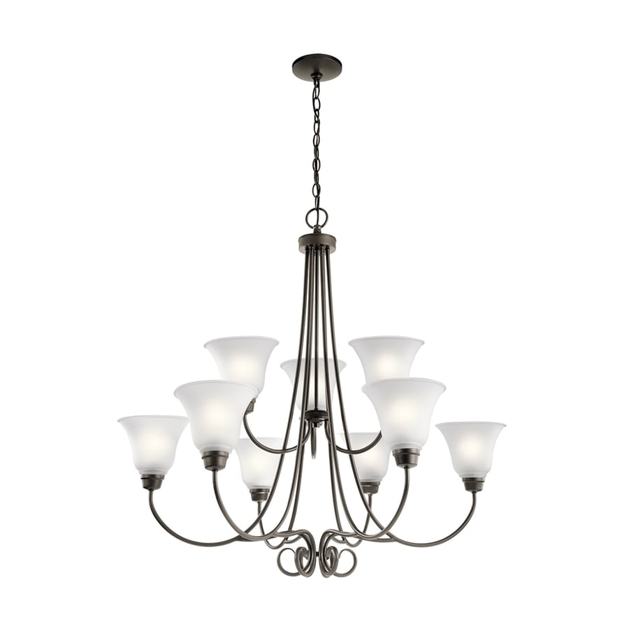 Kichler Bixler 35.25-in 9-Light Olde Bronze Country Cottage Hardwired Etched Glass Tiered Chandelier