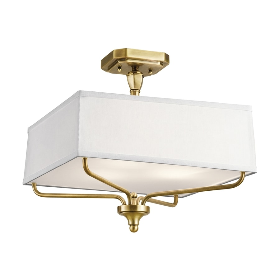 Kichler Arlo 15-in W Natural Brass Fabric Semi-Flush Mount Light