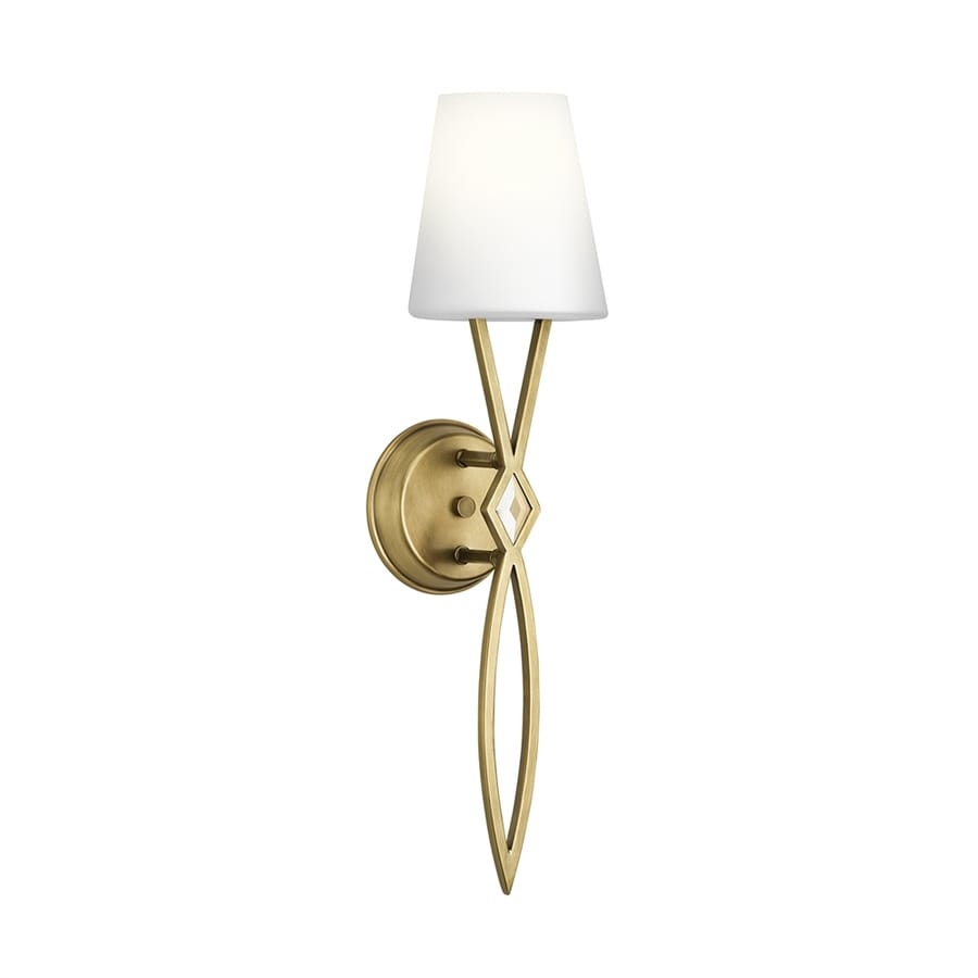 Kichler Jillian 6-in W 1-Light Natural Brass Wall Sconce