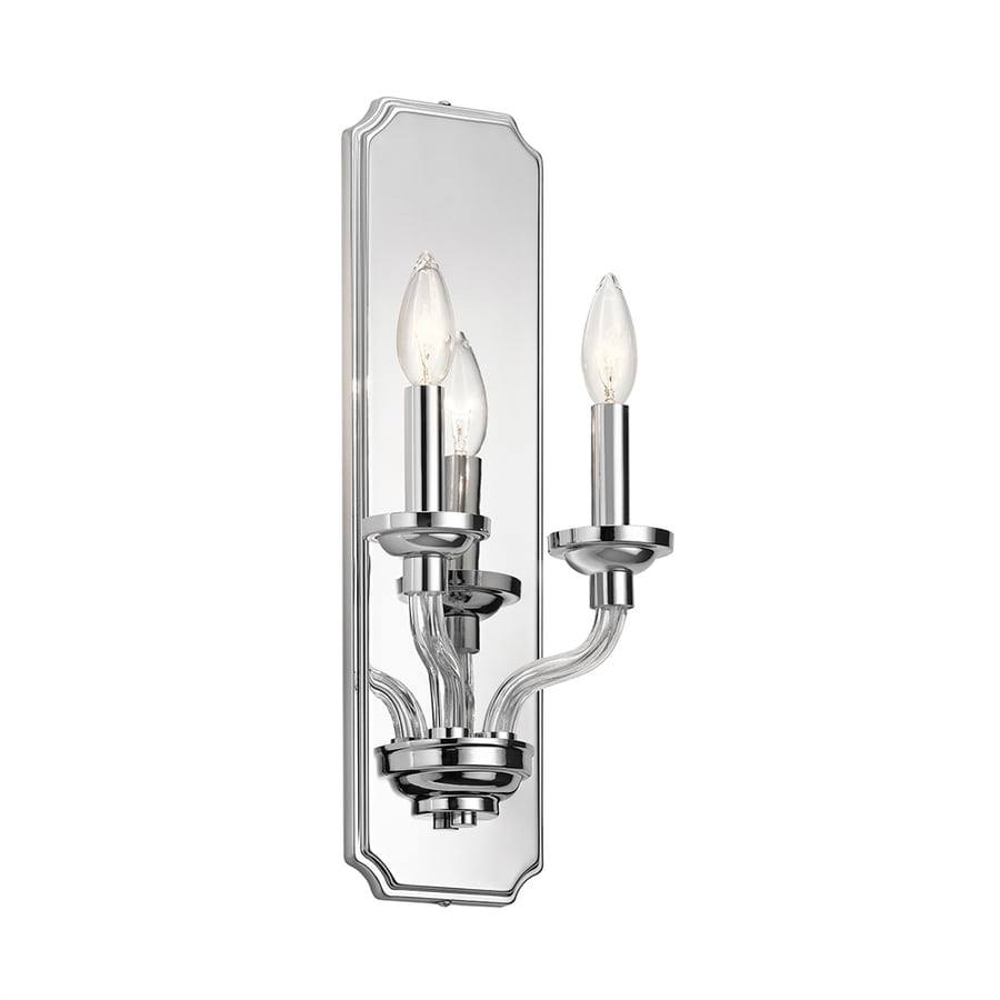 Kichler Loula 7.75-in W 2-Light Chrome Candle Hardwired Wall Sconce