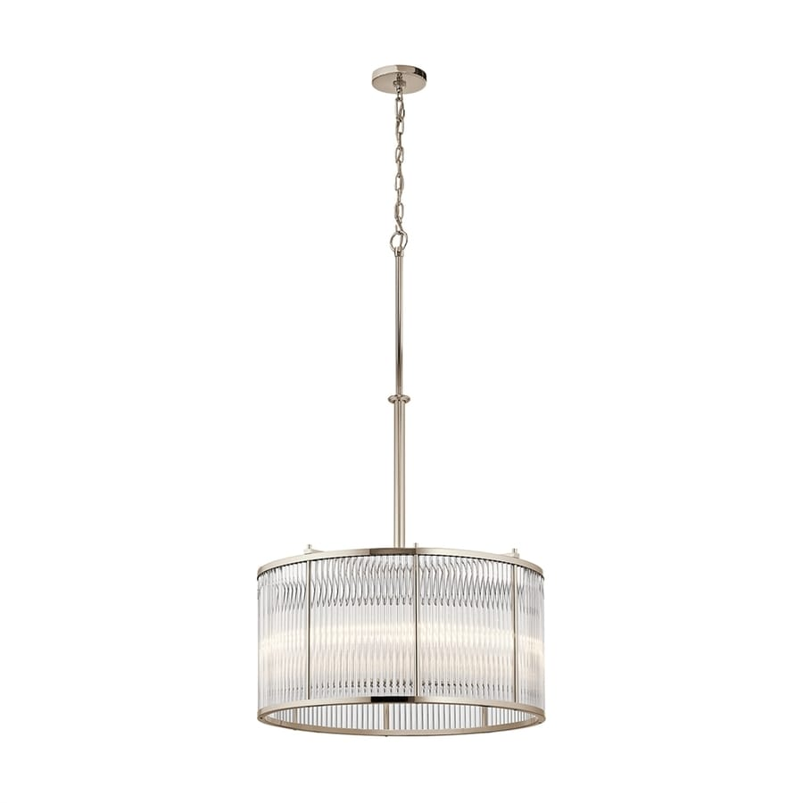 Kichler Artina 24-in Polished Nickel Single Ribbed Glass Drum Pendant