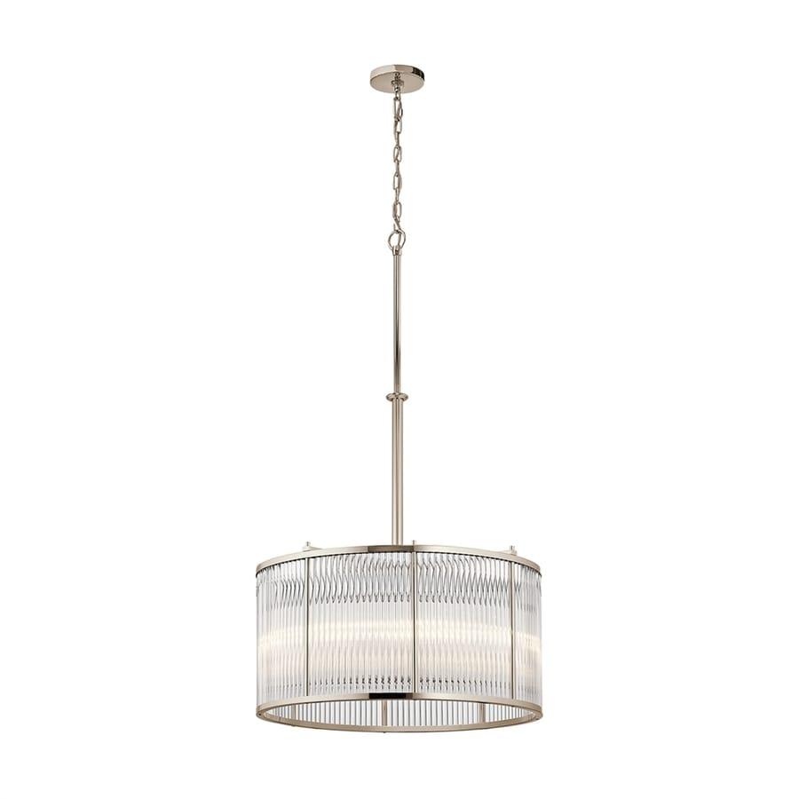 Kichler Lighting Artina 24-in Polished Nickel Single Ribbed Glass Drum Pendant