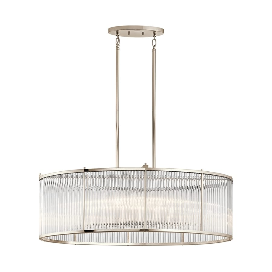 Kichler Lighting Artina 19-in W 8-Light Polished Nickel Kitchen Island Light with Clear Shade