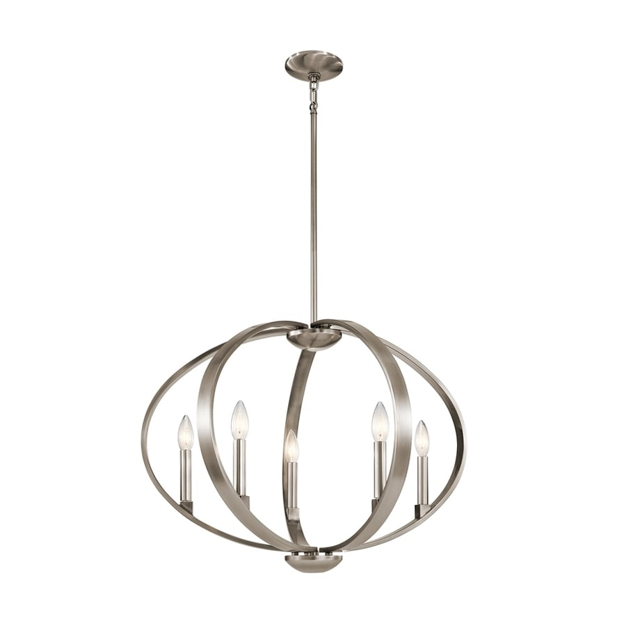 Kichler Elata 27-in Classic Pewter Single Orb Pendant