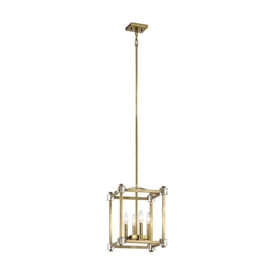 Kichler Cayden 12-in Natural Brass Vintage Single Cage Pendant