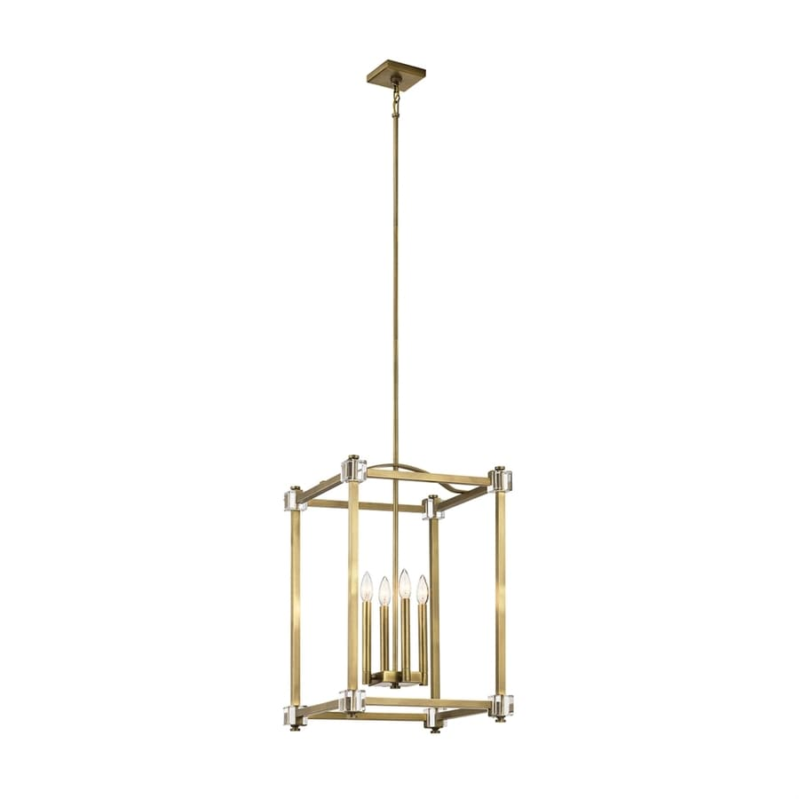 Kichler Lighting Cayden 17-in Natural Brass Vintage Single Cage Pendant
