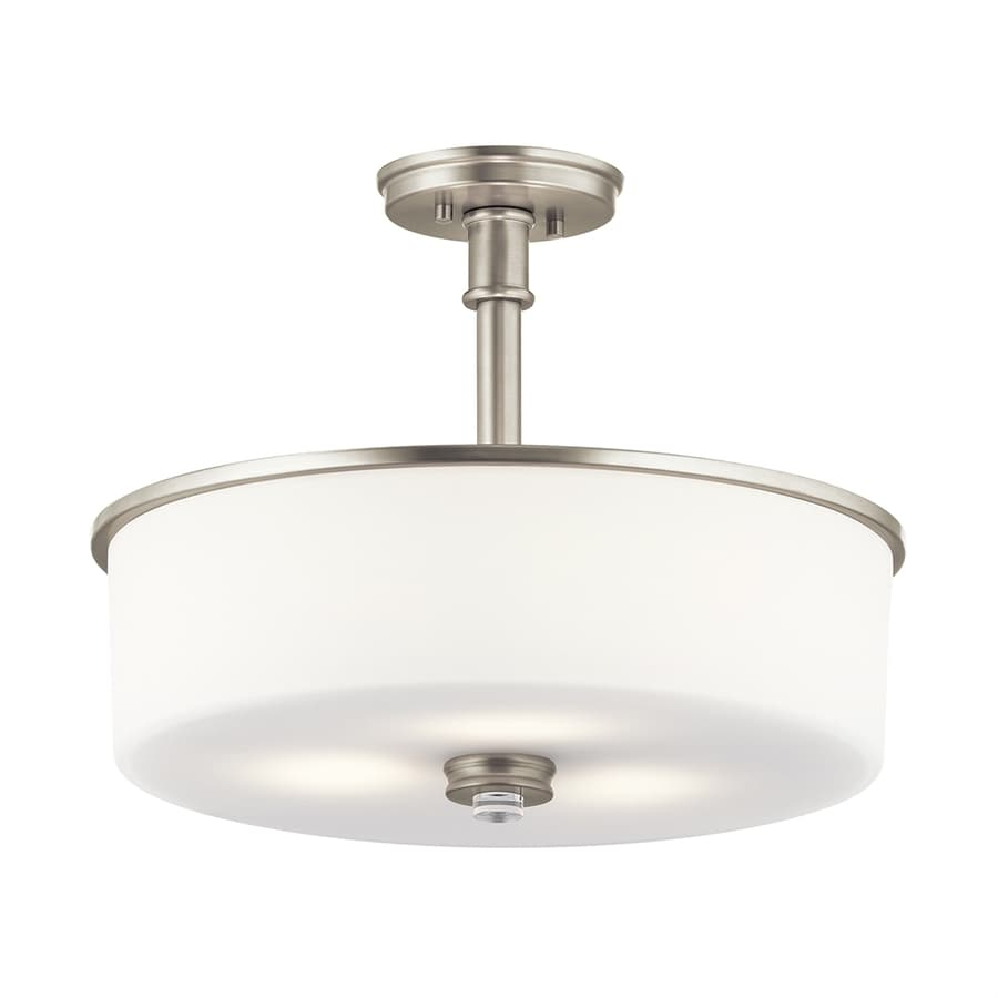Kichler Lighting Joelson 17.75-in W Brushed Nickel Etched Glass Semi-Flush Mount Light