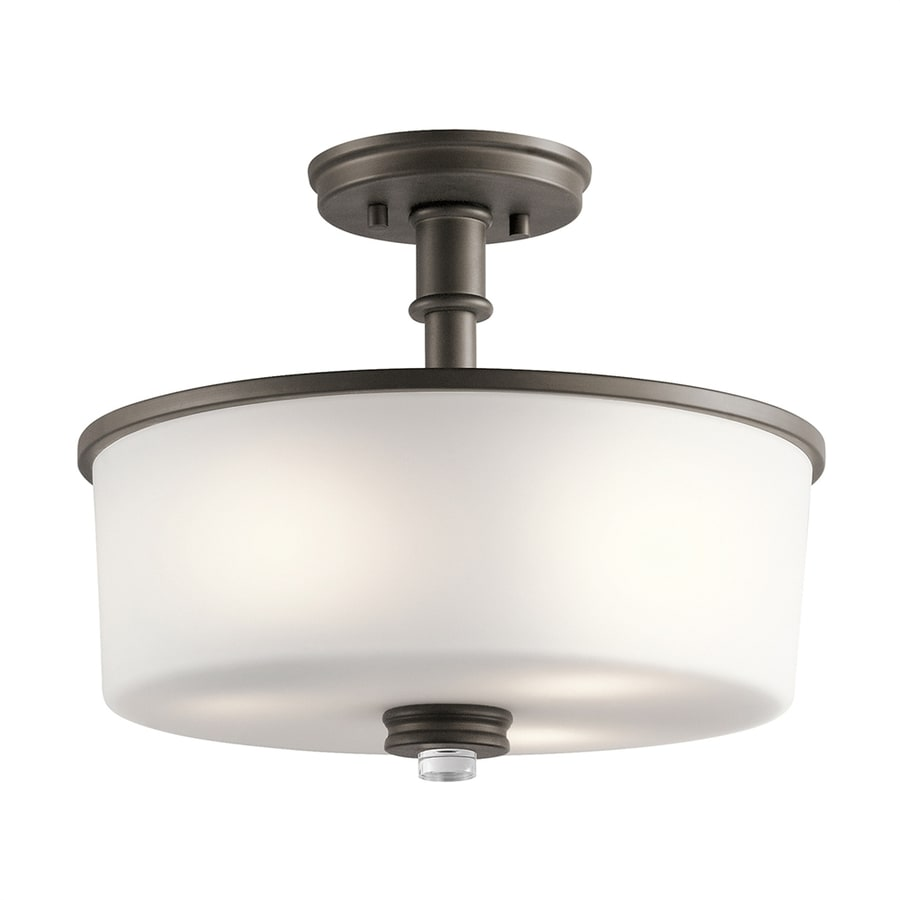 Kichler Lighting Joelson 14.25-in W Olde Bronze Etched Glass Semi-Flush Mount Light