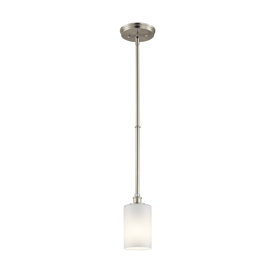 Kichler Lighting Joelson 4-in Brushed Nickel Country Cottage Mini Etched Glass Cylinder Pendant