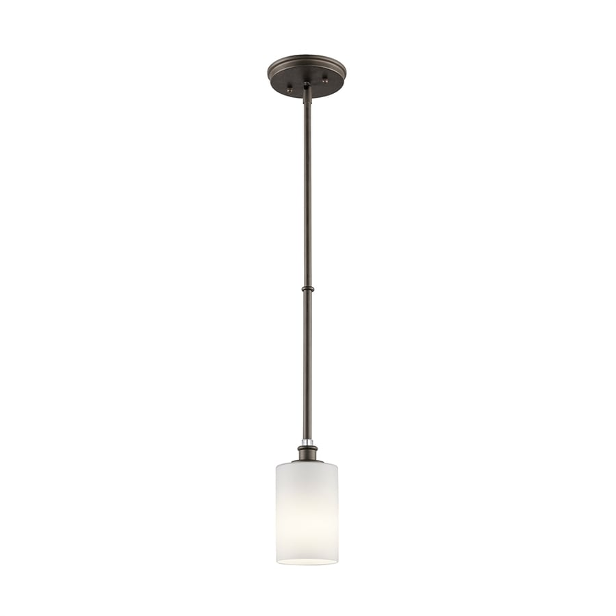 Kichler Lighting Joelson 4-in Olde Bronze Country Cottage Mini Etched Glass Cylinder Pendant