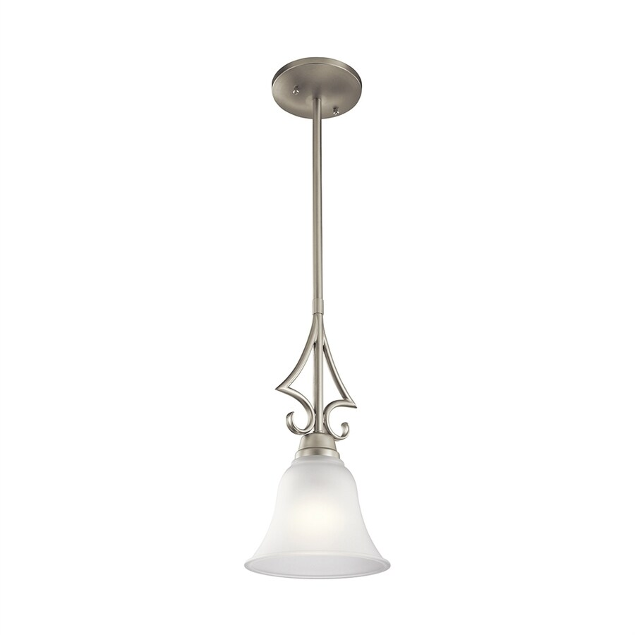 Kichler Lighting Bixler 6.5-in Brushed Nickel Country Cottage Mini Etched Glass Bell Pendant