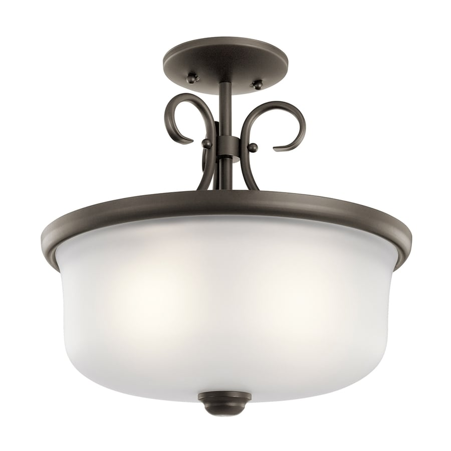Kichler Bixler 14-in W Olde bronze Etched Glass Semi-Flush Mount Light