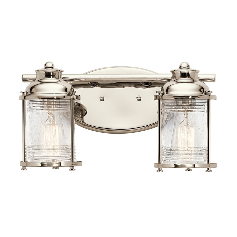 Shop Kichler Ashland Bay 2-Light 8-in Polished Nickel Jar Vanity Light at Lowes.com