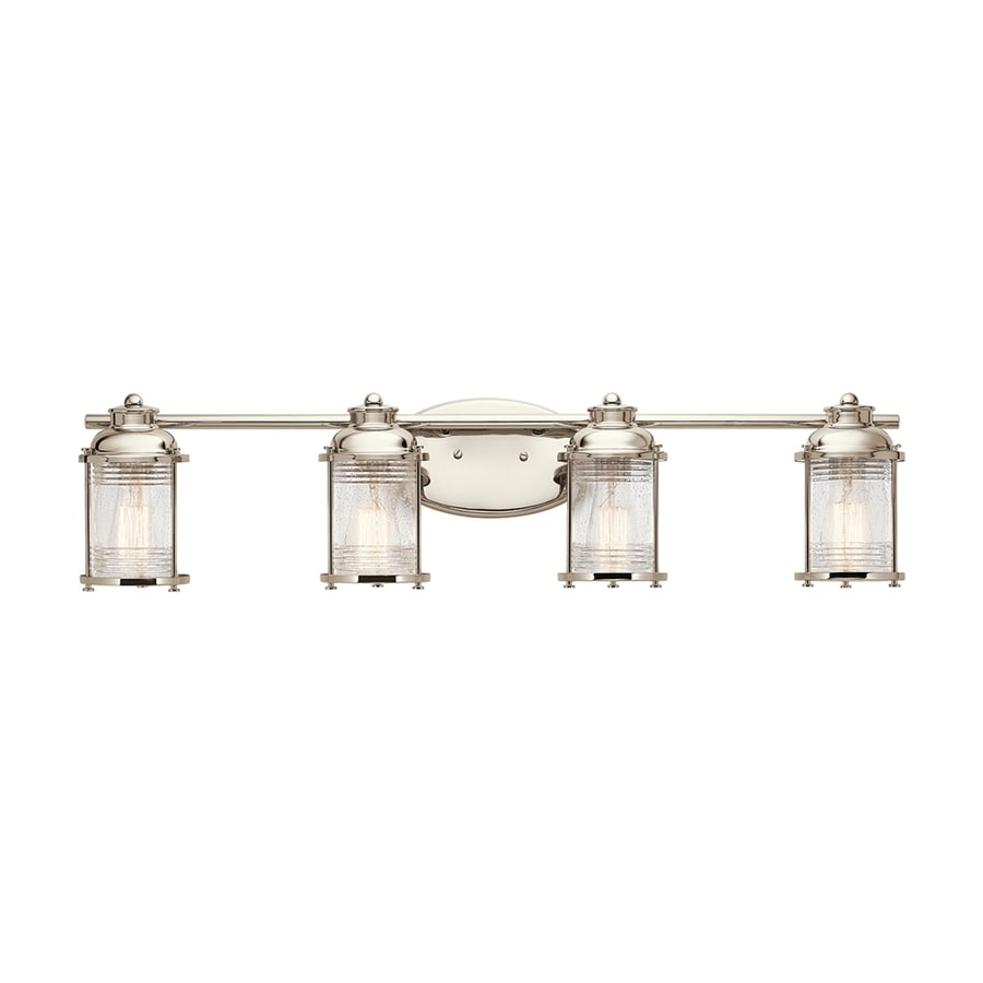 kichler bathroom lighting fixtures shop kichler ashland bay 4 light 8 in polished nickel jar 18959