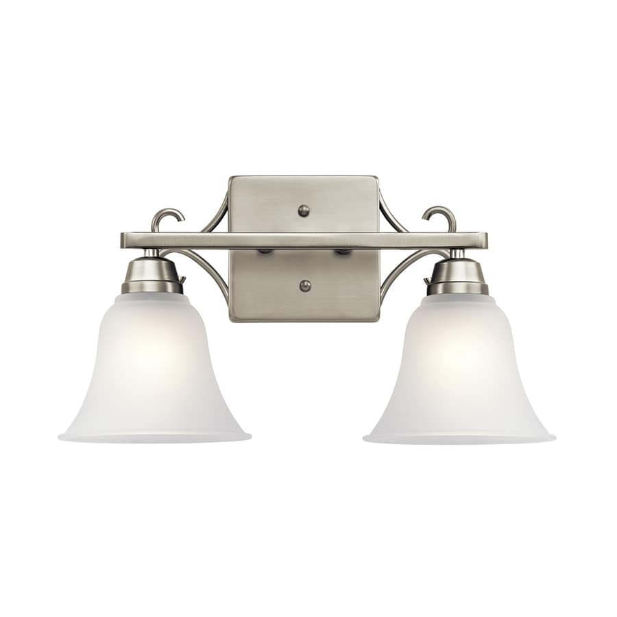 kichler bathroom light fixtures shop kichler bixler 2 light 16 75 in brushed nickel bell 18958