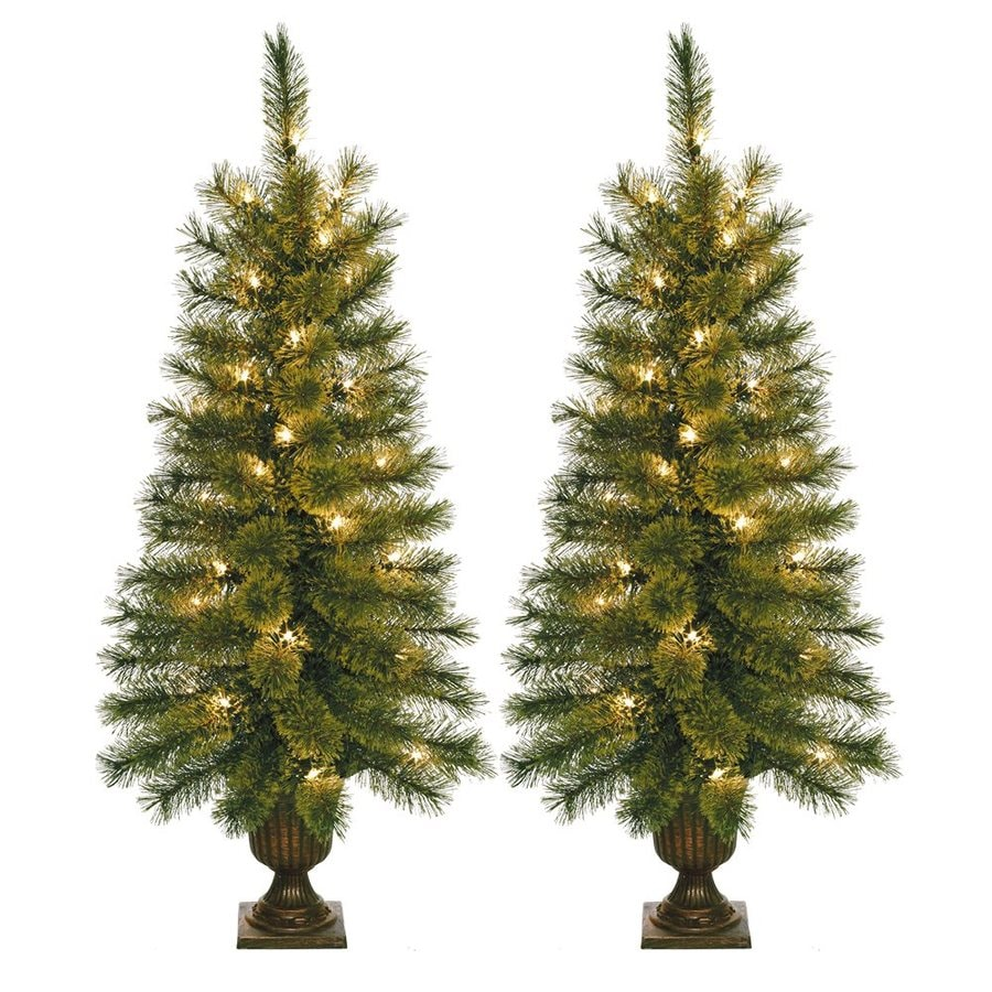 Shop Jeco 3.5-ft 90-Count Pre-lit Slim Artificial Christmas Tree ...